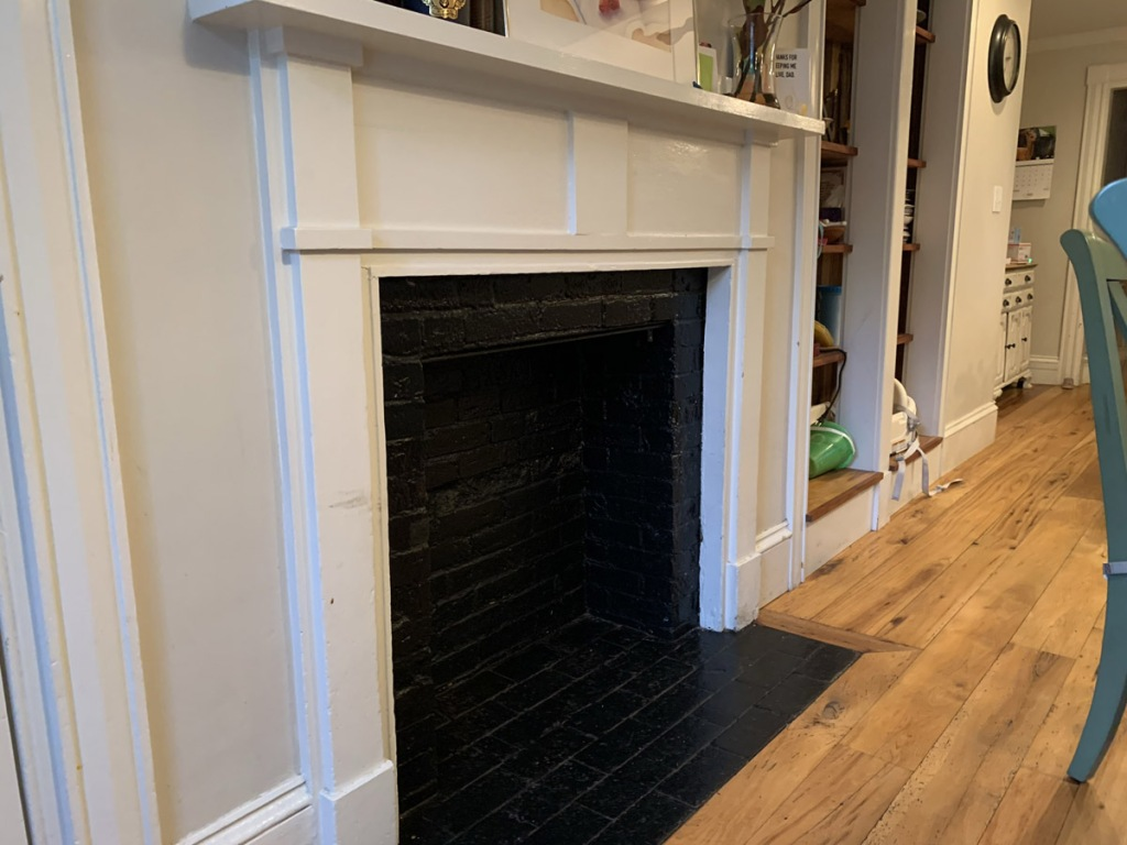 First floor fireplace, 201 Larch Row