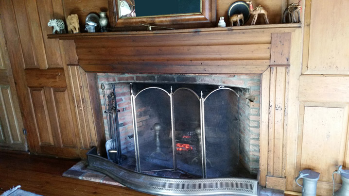 fireplace in the west side of the Edward Browne house, 27 High St. in Ipswich