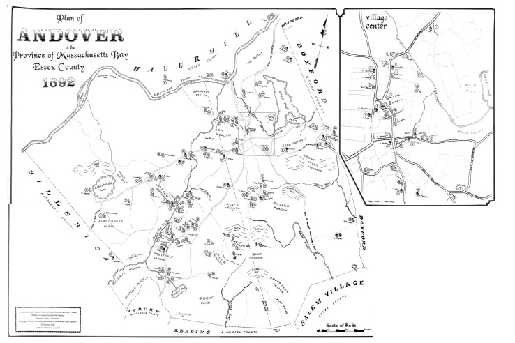 Plan of Andover in 1692, prepared by the Andover Historical Society