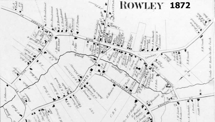 1872 map of the center of Rowley