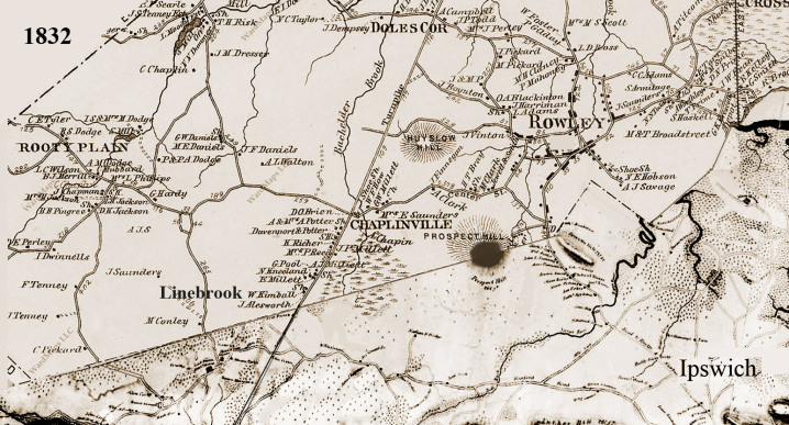 1832 Ipswich and Rowley map