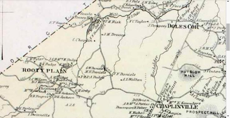 1872 map of Rowley showing the C. Chaplin farm