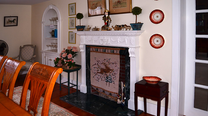 Fireplace wall at 204 Dodge St. in Rowley
