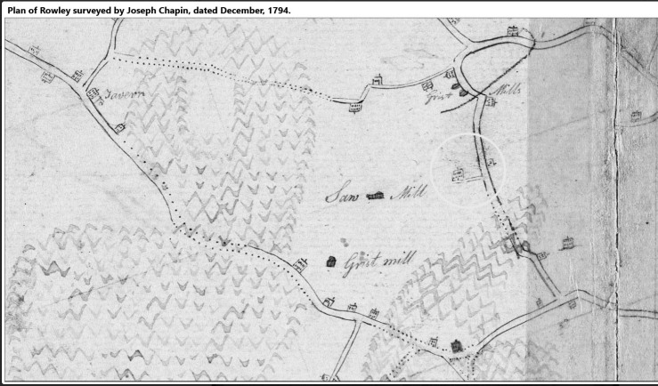 1795 map of Rowley showing 204 Dodge Rd.