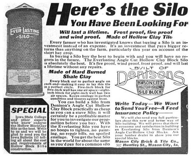 Denison clay-fired silo advertisement