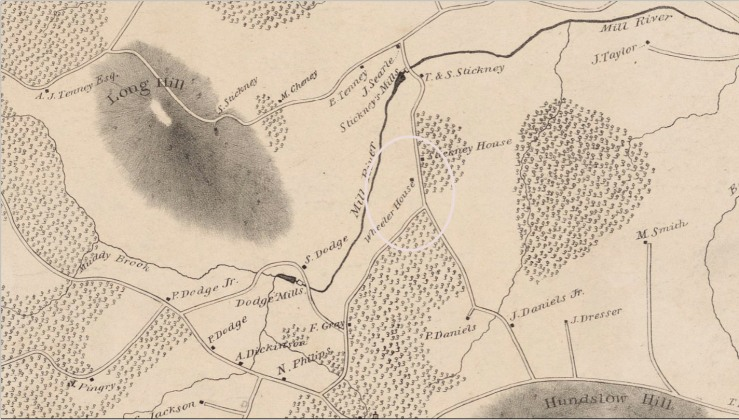 1830 map of Rowley showing Dodge Rd.