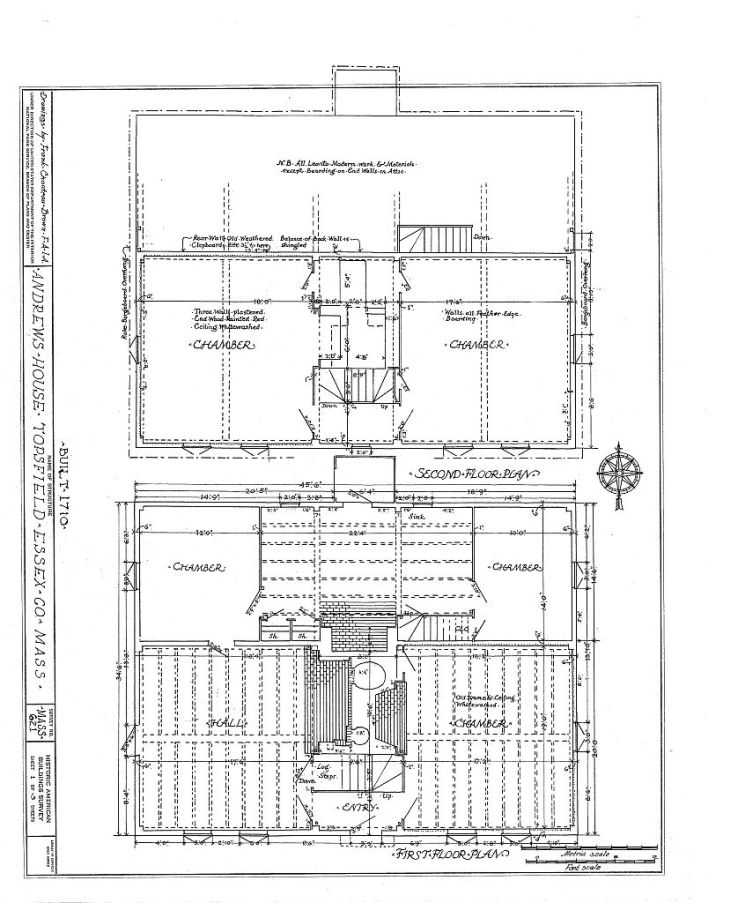 Floor layout of the Andrews House from the HABS survey