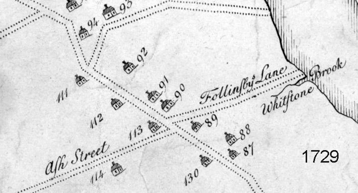 1729 West Newbury map, Main St.