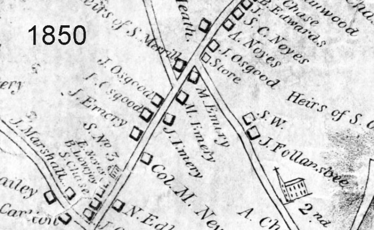 Closeup of 254 Main St. in the 1850 West Newbury Map