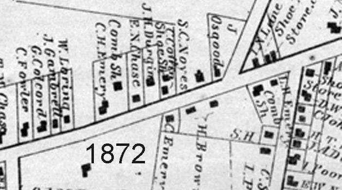 Closeup of 254 Main St. in the 1872 West Newbury map