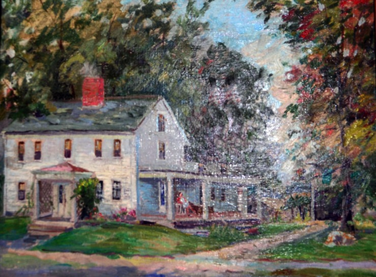 Painting of the William Follinsbee house in the 20th Century, with front and side porches