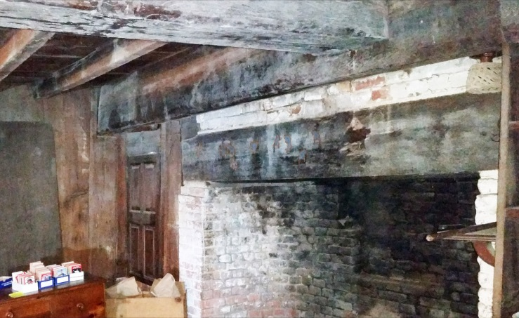 Left side rounded fireplace with smoke channel. Summer beam intersection with transverse beam, 30 East St.