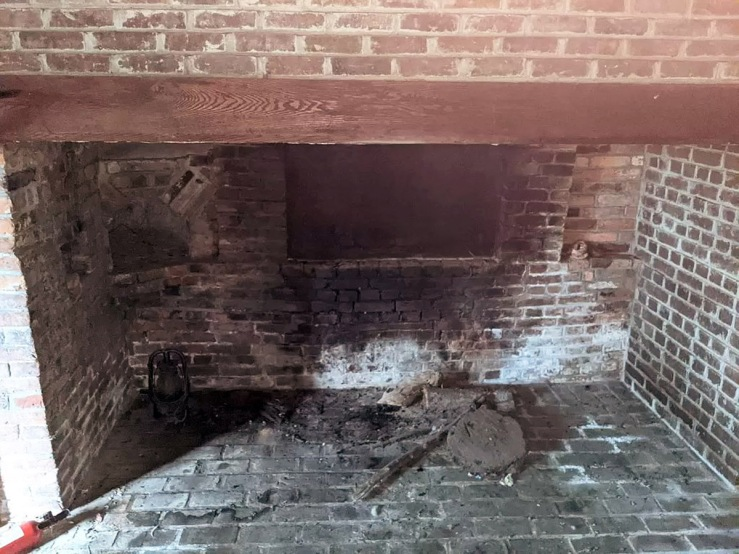 Reconstructed right side fireplace, 30 East St., Ipswich