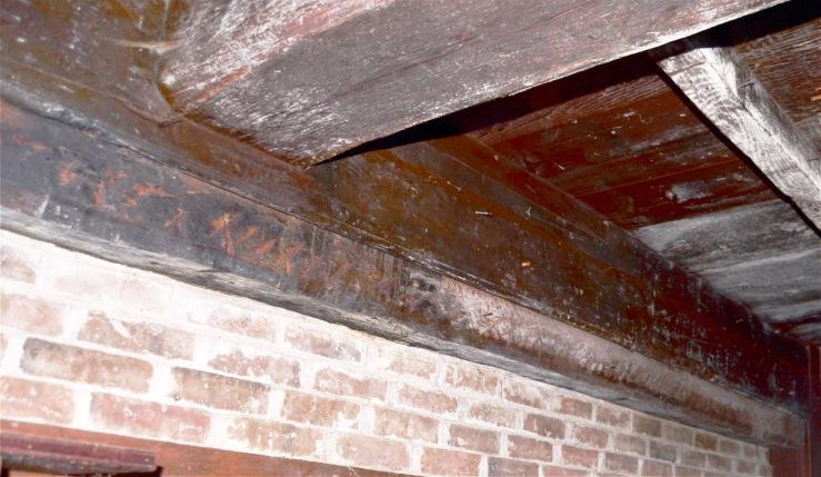 Summer beam, transverse beam and rebuilt fireplace, 30 East St., Ipswich MA