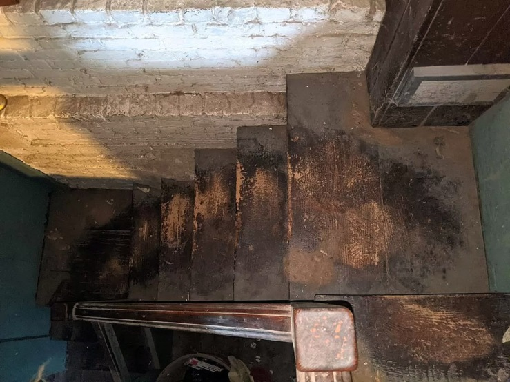 Original stairway, looking from above, 30 East St., Ipswich MA