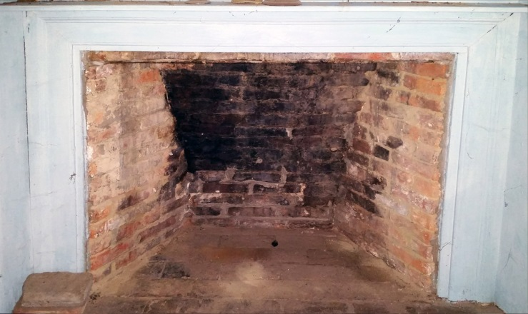 Upstairs fireplace with clay mortar, 30 East St., Ipswich