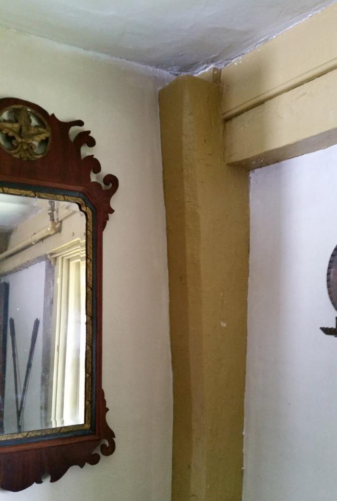 Gunstock corner post in Fireplace in Parson Capen house