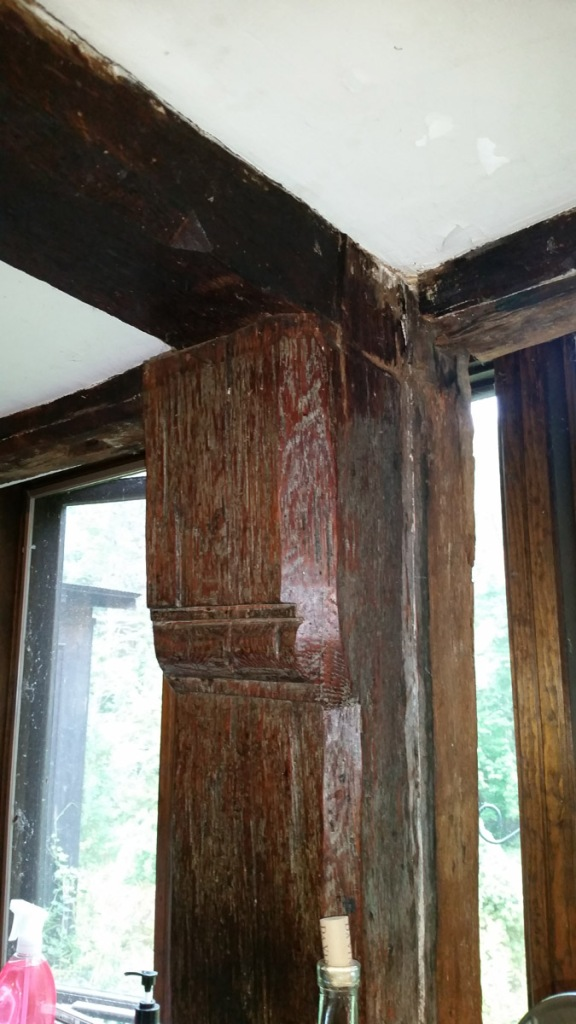 Kitchen rear wall, ornamental post in the Capt. Joseph Gould house